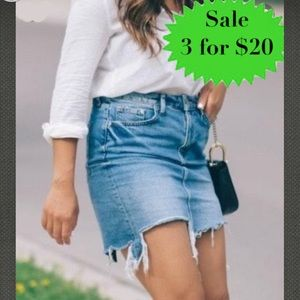 CELLO denim JEAN skirt Light faded wash distressed